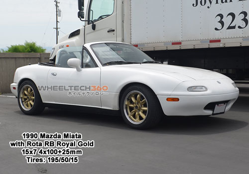 1990 Mazda Miata with Rota RB 15x7 4x100+25mm Royal Gold (195/50/15 Tires)
