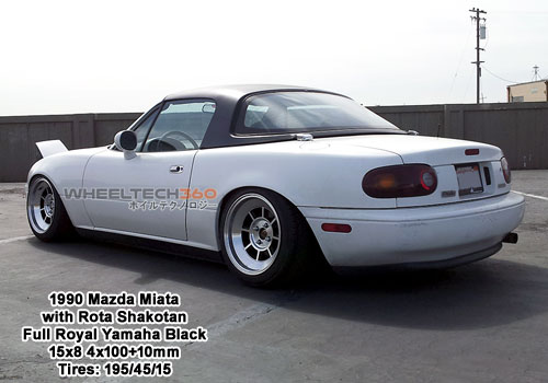1990 Mazda Miata with Rota Shakotan 15x8 4x100+10mm Full Royal Yamaha Black (195/45/15 Tires)