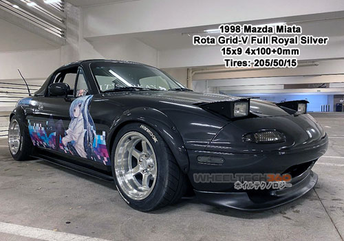 1998 Mazda Miata with Rota Grid-V 15x9 4x100+0mm Full Royal Silver(245/50/15 Tires)