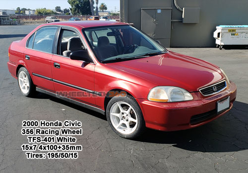 2000 Honda Civic with 356 Rainc Wheel TFS-401 15x7 4x100+35mm White (195/50/15 Tires)