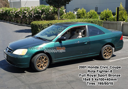 2001 Civic with Rota Fighter-8 15x6.5 4x100+40mm Full Royal Sport Bronze (195/50/15 Tires