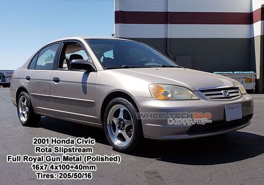 2001 Honda Civic with Rota Slipstream 16 x7 4x100+40mm Full Royal Gun Metal(205/50/16 Tires)
