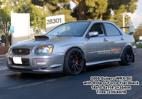 2005 Subaru WRX Sti with Rota G-Force18x10 5x114.3+35mm Flat Black
