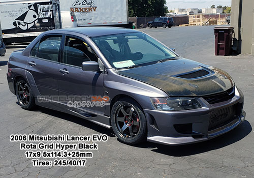 2006 Mitsubishi Lancer EVO with Rota Grid 17x9 5x114.+25mm Hyper Black (245/40/17 Tires)