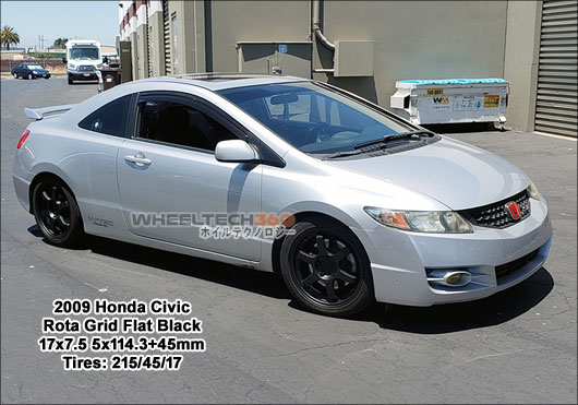 2009 Honda Civic with Rota Grid 17x7.5 5x114.3+45mm Flat Black (215/45/17 Tires