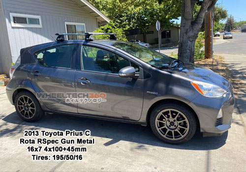 2013 Toyota Prius C with Rota R-Spec 16x7 4x100+45mm Gun Metal (195/50/16 Tires
