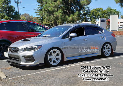 2018 Subaru WRX with Rota Grid 18x9.5 5x114.3 +38mm White (255/35/18 Tires)