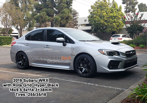 2019 Subaru WRX with Rota Grid 18x9.5 5x114.3 +38mm Hyper Black (255/35/18 Tires)