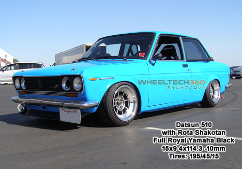 1983 Toyota Corolla with Rota Shakotan 15x9 4x114+0mm Full Royal Yamaha Black (195/50/15 Tires)