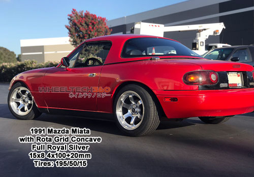 1991 Mazda Miata with Rota Gird Concave 15x8 4x100+20mm Full Royal Silver (195/50/15 Tires