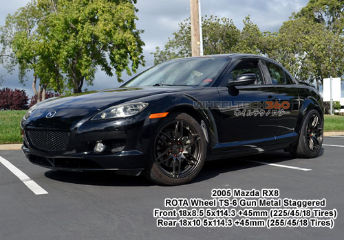2005 Mazda RX8 Rota TS-6 Wheels Staggered 18x8.5, 18x10