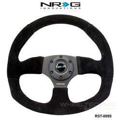 NRG Steering Wheel (Flat Bottom, Suede/Black Stitching, RST-009S)