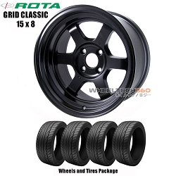 ROTA Wheels Grid Classic (15x8) Wheels and Tires Package