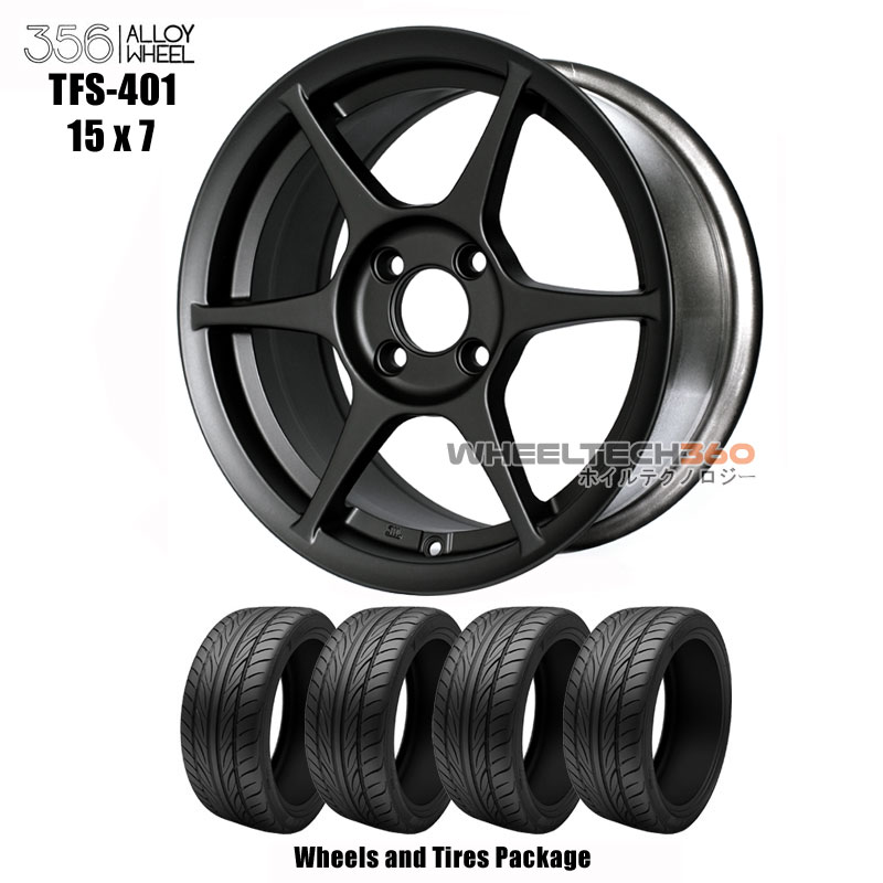 356 Racing Wheels TFS-401  (15x7) Wheels and Tires Package