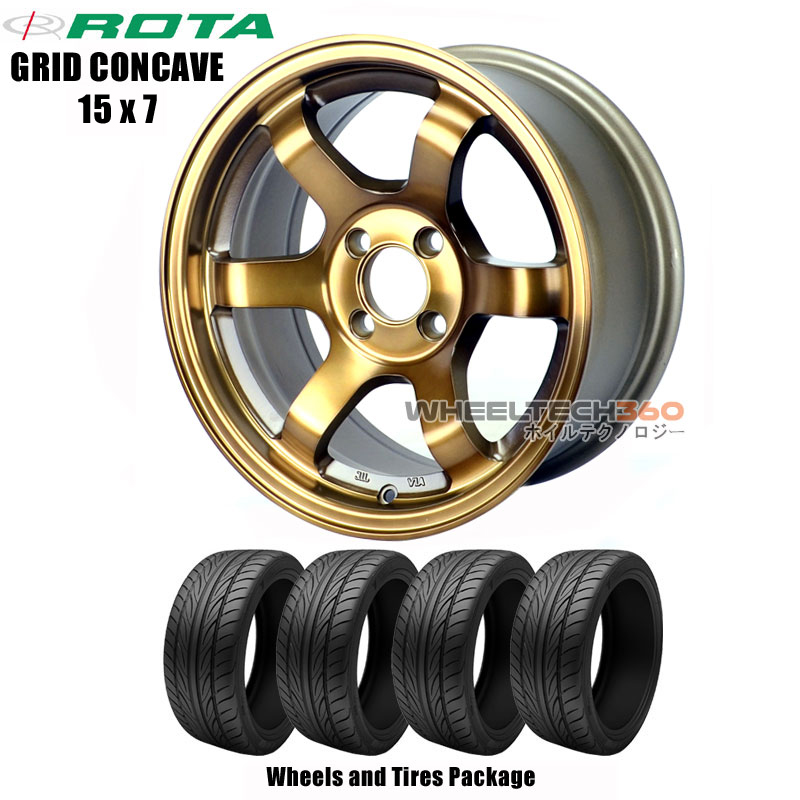 ROTA Wheels Grid Concave (15x7) Wheels and Tires Package