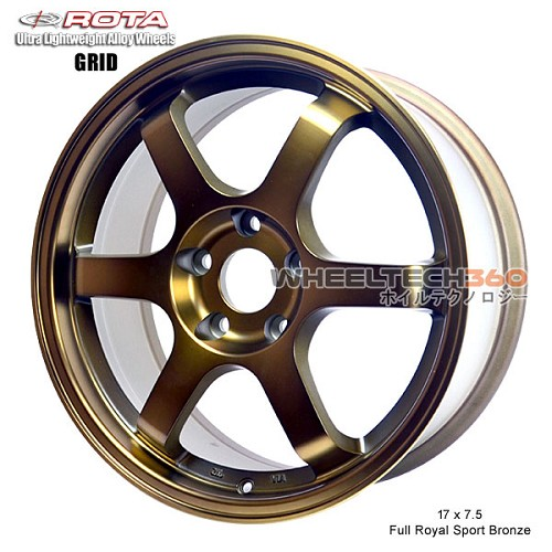 Rota Wheel Grid 17 x 7.5 Full Royal Sport Bronze