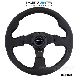 NRG Steering Wheel (Race, Black Leather/Black Stitching, RST-012R)