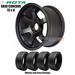 ROTA Wheels Grid Concave (15x8) Wheels and Tires Package